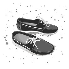 Pair Of Male Boat Shoes With Laces, Vector, Illustration