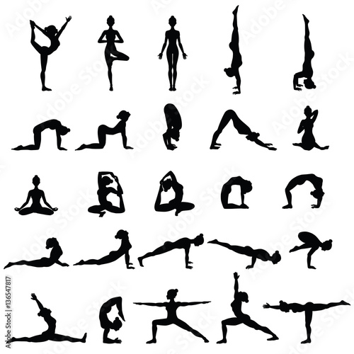 Fotografie, Obraz  Women silhouettes. Collection of yoga poses. Asana set.