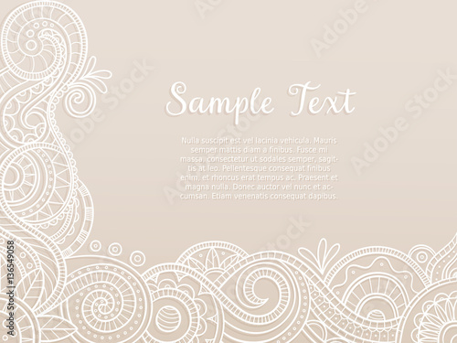 Fototapeta Abstract Background Wedding Invitation Or Greeting Card Design With Hand Drawn Lace Pattern Corner Design Vector Illustration