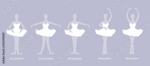 Photo  Girl dancer performs the five basic ballet positions