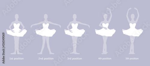 Fotografie, Obraz  Girl dancer performs the five basic ballet positions
