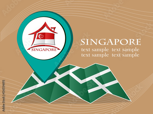 map with pointer flag Singapore vector illustration eps 10. Poster