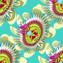 Seamless Pattern Passion Flower Blue Tropical Fruit