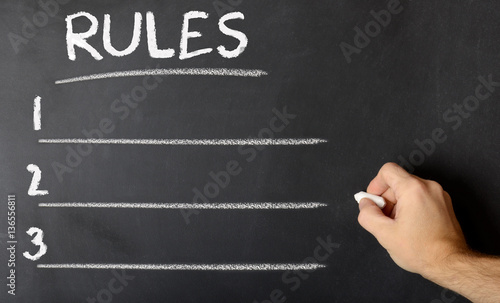 Photo  Chalk board with rules written