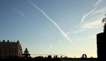 Traces In The Sky At Sunset Fr...