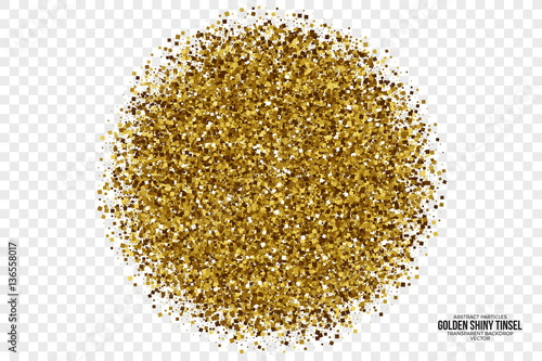 Fotografía  Golden Shiny Tinsel Square Particles Abstract Vector Illustration on Transparent Background