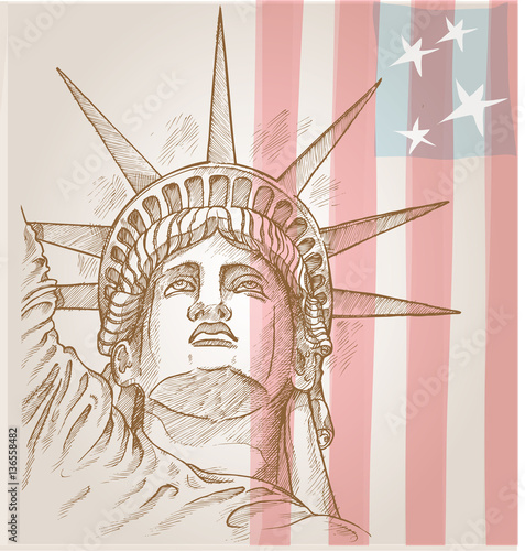 In de dag Art Studio statue of liberty face with flag