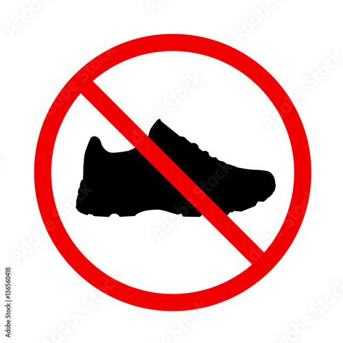 Fotografía  Prohibited information icon with shoe