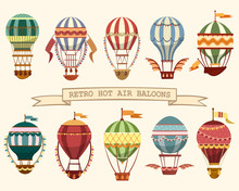 Icons Of Vintage Hot Air Ballo...