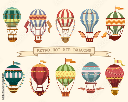Valokuvatapetti Icons of vintage hot air balloons with flags