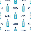 Dry gin bottles seamless pattern. Alcohol drink flat style design