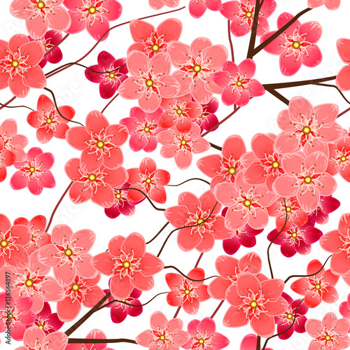 Tela  Seamless pattern with sakura flowers branches