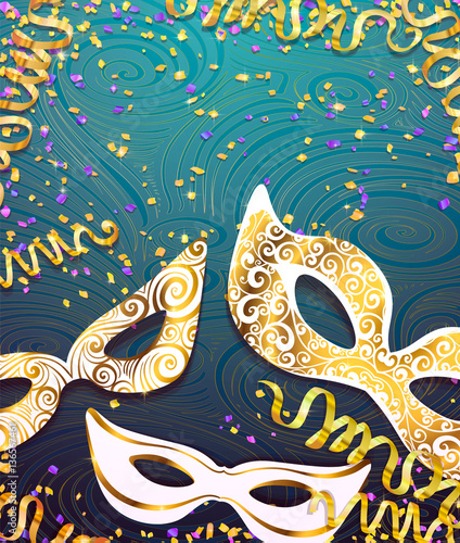 realistic carnival mask wather for mardi gras invitation flyers web