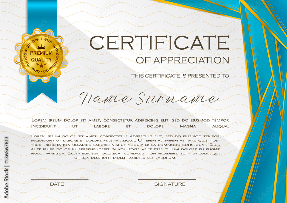 Fototapety, obrazy: Qualification Certificate of appreciation, design. Elegant luxury and modern pattern, best quality award template with white and golden tapes, shapes, badge. Vector illustration