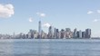 New York city skyline and Hudson river, clear blue sky in summer