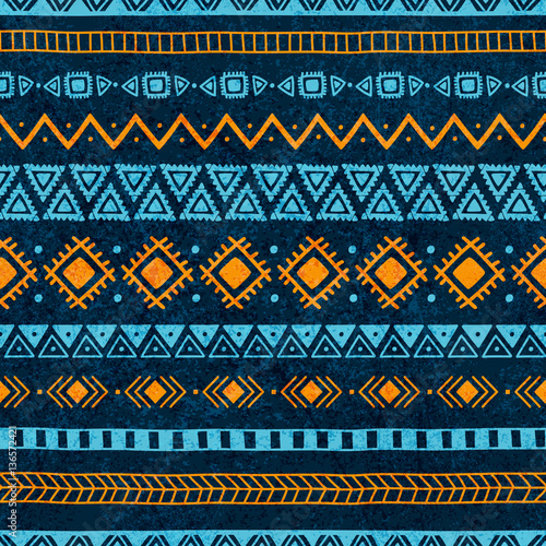 Cotton fabric Seamless vintage pattern. Grungy texture. Blue and orange colors