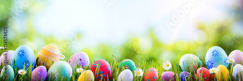 Easter - Colorful Decorated Eggs On Field Wallpaper Mural