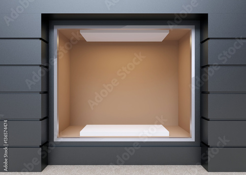 Blank mock up of store street showcase window in a city. 3D rend Canvas Print