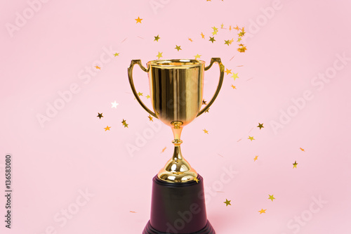 Canvastavla gold winner cup on pink background