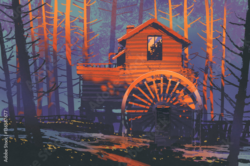 wooden house with a waterwheel in forest at sunset,illustration painting