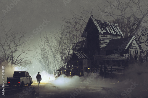 Fotografie, Obraz  night scene of truck driver and abandoned haunted old house in forest,illustrati