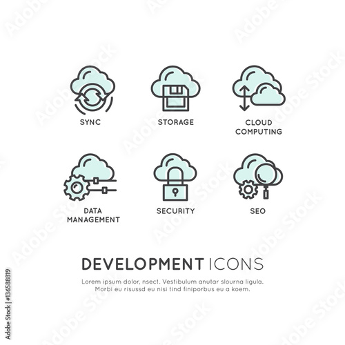 Vector Icon Style Illustration Logo Set Of Web Mobile And App