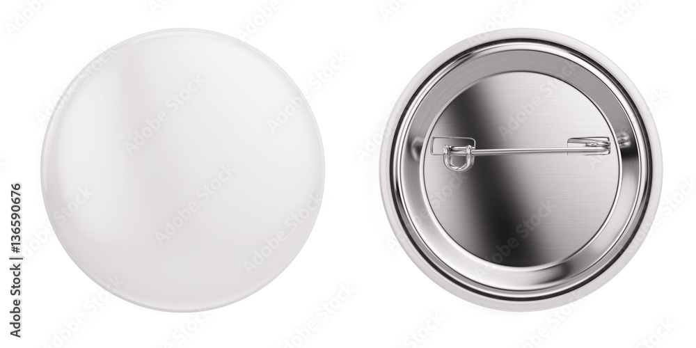 Fototapety, obrazy: White badge pin brooch isolated on white mock-up. 3d rendering