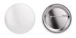 Leinwandbild Motiv White badge pin brooch isolated on white mock-up. 3d rendering