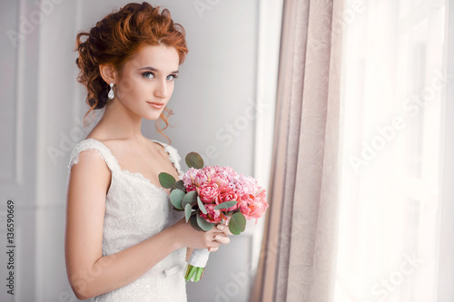 Wedding. Beautiful bride Fotobehang