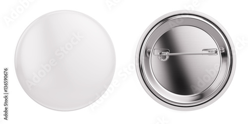 White badge pin brooch isolated on white mock-up. 3d rendering