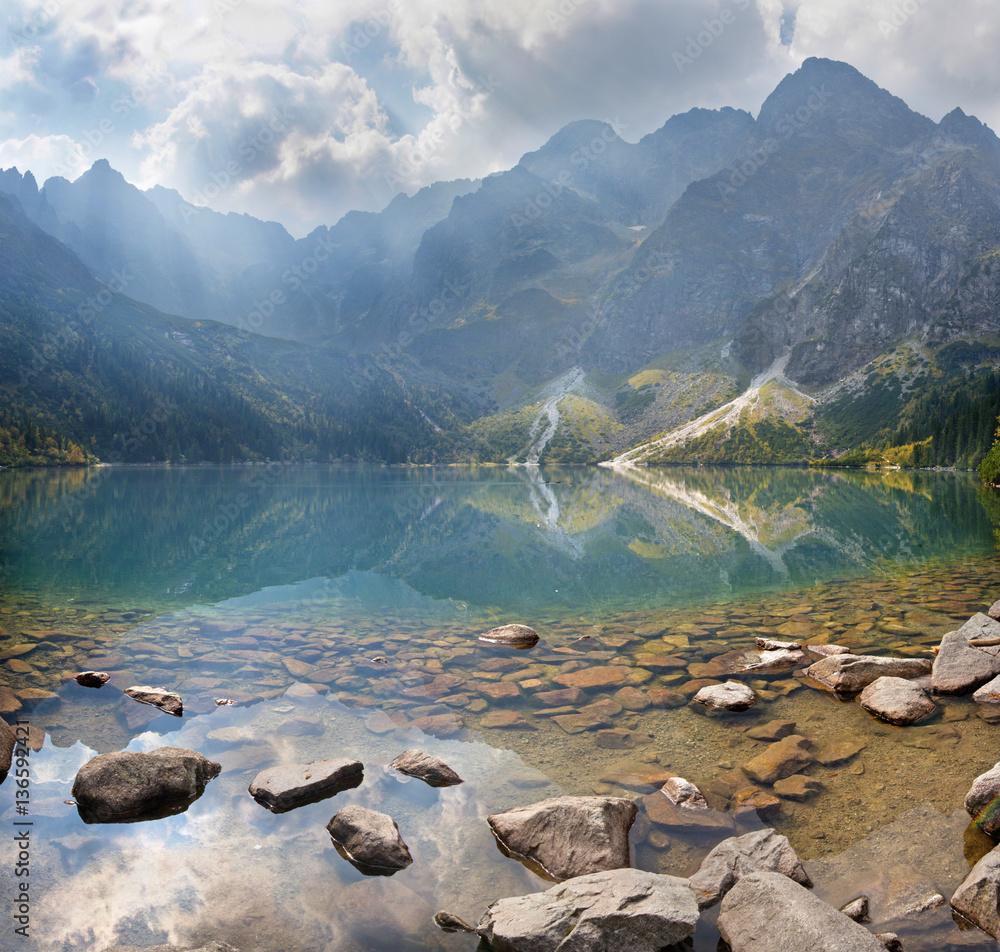 Fototapety, obrazy: High Tatras - The lake Morskie Oko and Rysy, Mengusovske and other peaks.