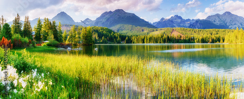 Fototapeta Majestic mountain lake in National Park High Tatra. Strbske ples obraz
