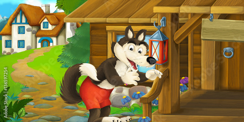 Wall Murals Bears Cartoon funny scene with wolf in front of wooden farm house - illustration for children