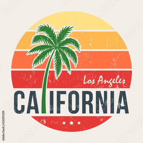 California tee print with styled palm tree Tableau sur Toile