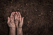 canvas print picture - Man hands on soil background captured from above.