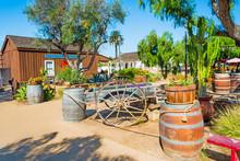 Wooden Barrels And Cart