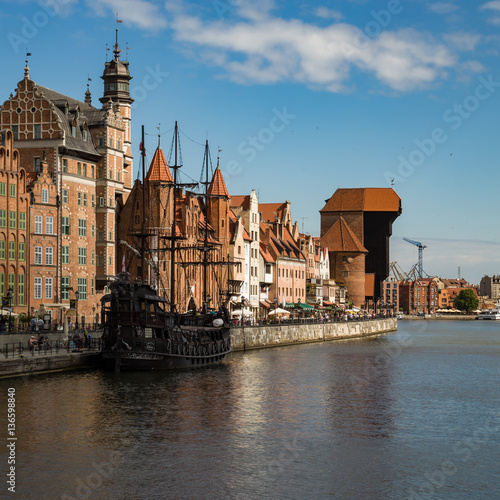 Gdansk, Danzig, the old medieval city in Poland on a sunny day.