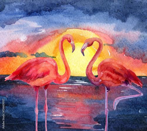 krajobraz-zachod-slonca-z-flamingami-akwarela