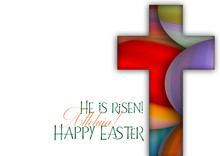 Happy Easter Cross Made Of Col...