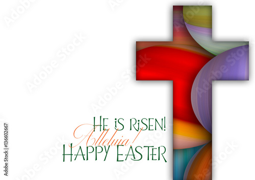 Fotografie, Obraz  Happy Easter cross made of colorful painted Easter eggs, religious holiday illus