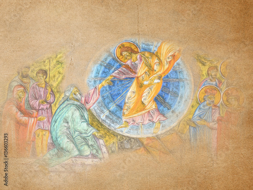 Easter resurrection of Jesus Christ, icon style abstract artistic illustration Wallpaper Mural