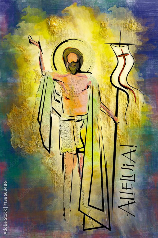 Fotografia Easter resurrection religious background - the risen Lord Jesus