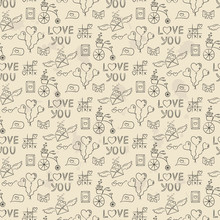 Seamless Pattern With Valentine's Icons.