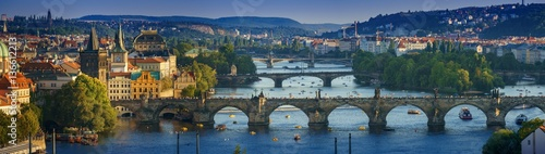 Poster Prague Panoramic view Vltava river from Letn Park, Prague, Czech Republic