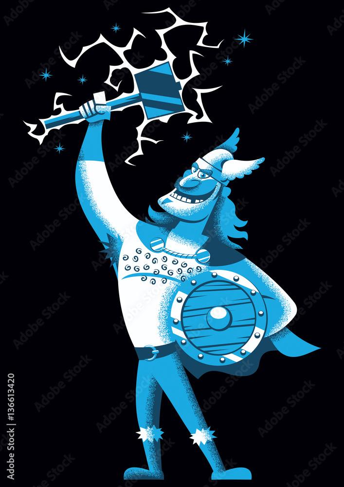Valokuva Cartoon Thor   Cartoon illustration of Scandinavian god Thor over  black background - tilaa netistä Europosters.fi 46bd36e916