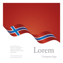 New Brochure Abstract Design Modular Pattern Of Wavy Flag Ribbon Of Norway