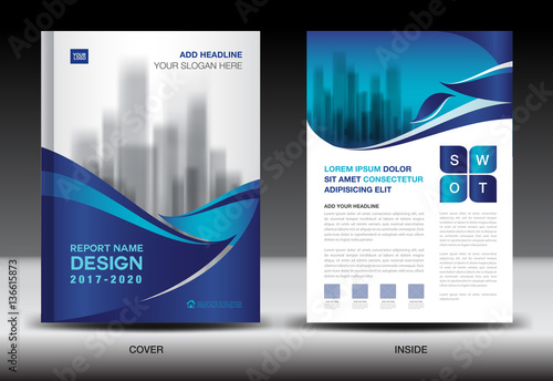 Annual Report Brochure Flyer Template Blue Cover Design Business Company Profile Book Magazine Ads Booklet