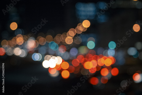 Keuken foto achterwand Las Vegas Colorful lights from cars in defocus, night, outdoor