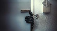 Burglar Open Door Of Apartment Or House