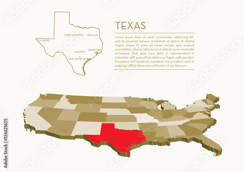 Photo 3D USA State map - TEXAS
